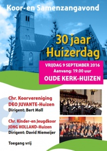 Koor en samenzangavond op 9 september in de Oude Kerk te Huizen